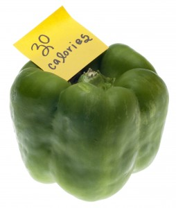 Green Bell Pepper with 30 Calories Handwritten Note